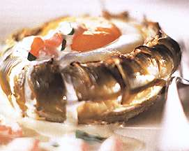Baked Artichokes with Coddled Eggs Nicoise