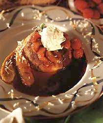 Warm Banana Upside Down Cake with Hot Chocolate Sauce