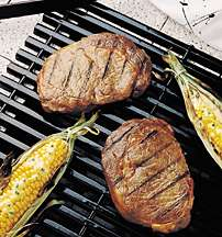 Grilled Steaks with Corn and Lemon-Chive Corn