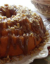 Low Carb Sugar Free Apple Walnut Caramel Cake