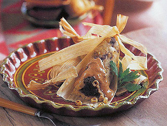 Mark Miller's Black Bean Tamales with Red Chile Crema