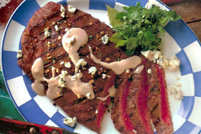 Flank Steak with Blue Cheese Sauce