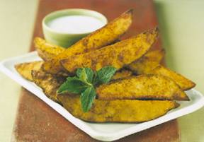 Curry Potato Wedges with Raita