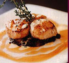 Scallops with Lentils, Bacon and Cider Reduction