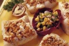 Walnut Coated Fish Fillets with Corn Salsa