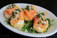 Smoked salmon on sourdough with caper-dill relish