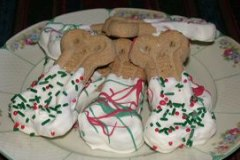 White Chocolate Dipped Dog Biscuits
