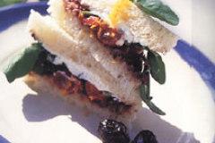 Olive, Goat Cheese and Arugula Tea Sandwiches