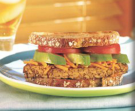 South Beach Diet Tempeh Dagwood Sandwich