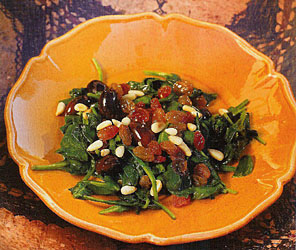 Spinach with Olives, Raisins, and Pine Nuts