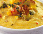 Curry Corn Chowder with Roasted Poblanos