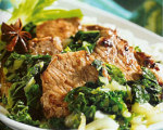 Five Spice Pork with Bok Choy and Green Onions