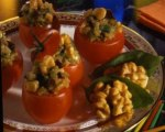 Roasted Eggplant and Walnut Tomato Cups