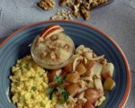 Crusty Hash Brown Potatoes with Scrambled Eggs and Spiced Applesauce
