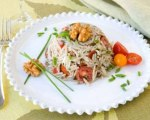 Warm Orzo and Walnut Salad with Garden Vegetables, Chevre and Herbs