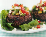 Beef Burgers with Feta, Cucumber, Avocado and Tomatoes