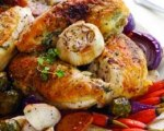 Roasted chicken breasts with herbed butter
