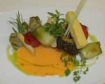 Sauteed Seabass with Panisse and Vegetables