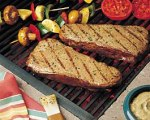Grilled herb and mustard steak