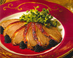 Roast duck with blackberry sauce