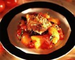 Grilled Halibut with Garlic Roasted New Potatoes and Tomato Orange Relish