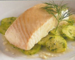 Halibut Poached in Olive Oil with Cucumber and Dill