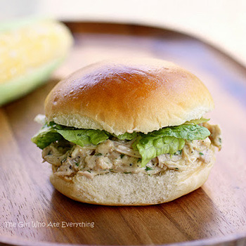 Slow cooker chicken Caesar sandwiches