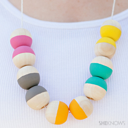 DIY wood bead necklace 