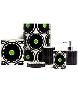 70s floral black and white bathroom accessories