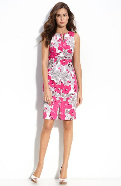 Adrianna Papell pleat waist sheath dress