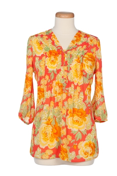 Mandarin Floral Printed Blouse with Pleats