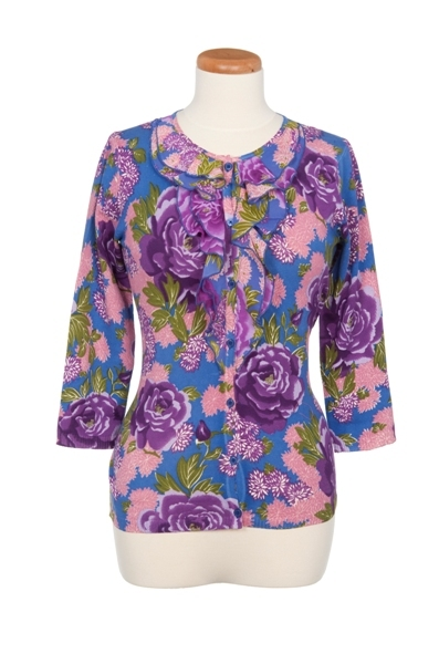 Floral Printed Ruffle Front Cardigan
