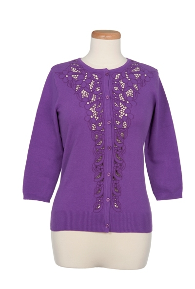 Crew Neck Cardigan with Lace Front Placket