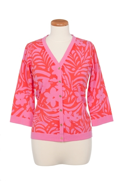 V-Neck Wild Grass Print Cardigan