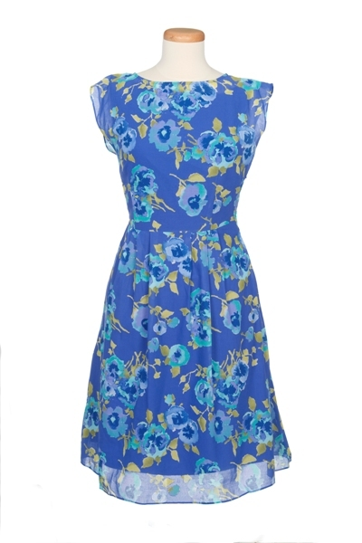 Floral Pansy Print Cap Sleeve Dress