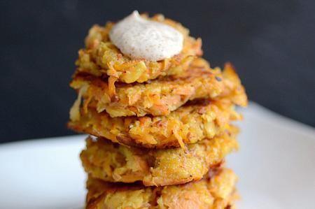 Sweet potato and parsnip latkes