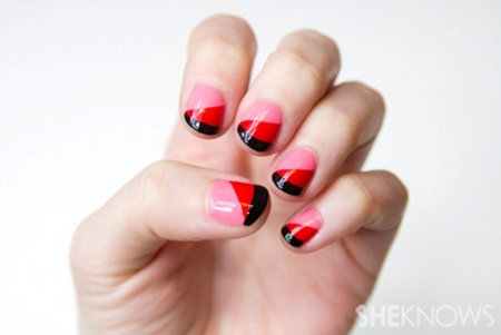 A pretty in red and pink nail design