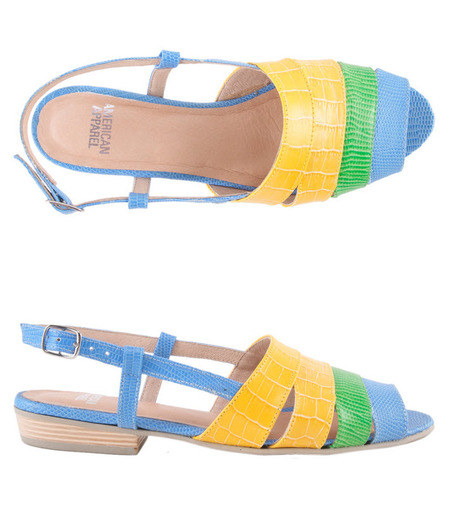 Look bright in these neon cut-out sandals from American Apparel.