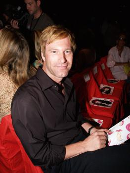 Aaron Eckhart at Fashion Show in Bryant Park
