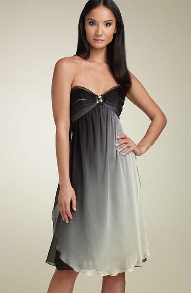 ABS by Allen Schwartz Ombre Gathered Silk Dress