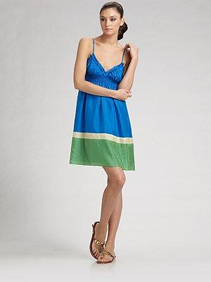 ABS Colorblock Silk Dress