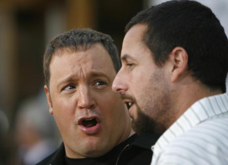 Kevin James clowns with Adam Sandler at the movie premiere