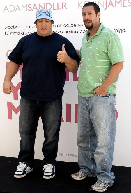 Adam Sandler with Kevin James in Mexico City