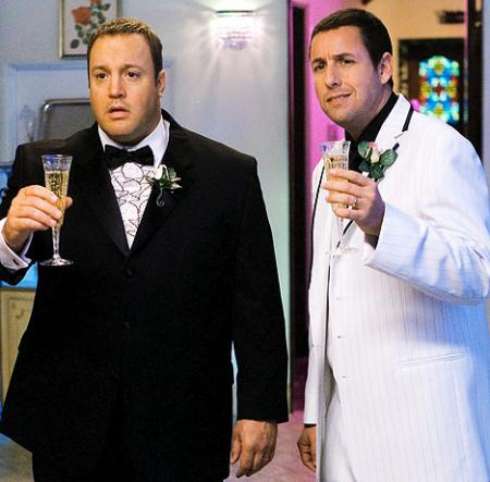 Adam Sandler and Kevin James toasting with champagne