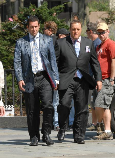 Adam Sandler and Kevin James on the set