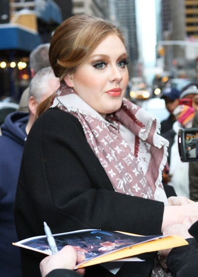 Adele with swooping bangs