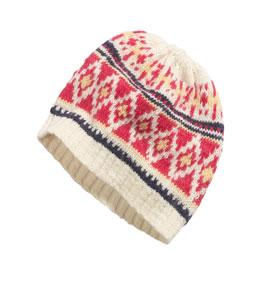 Fair Isle hat in pink and cream