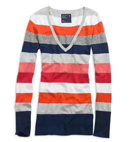 AE Striped V-neck sweater