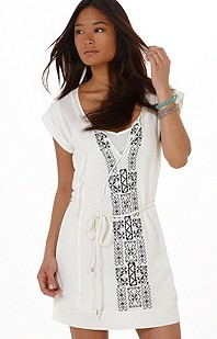 Embroidered Tie-Front Tunic Dress