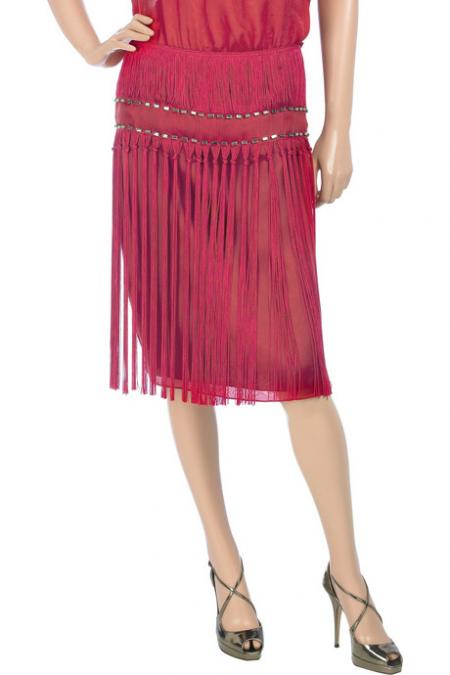 Alberta Ferretti Fringed Silk Skirt